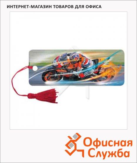 Закладка для книг Brauberg Мотогонки, объемная с движением, шнурок-завязка