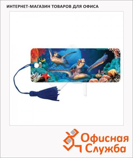 Закладка для книг Brauberg Подводный мир, объемная с движением, шнурок-завязка