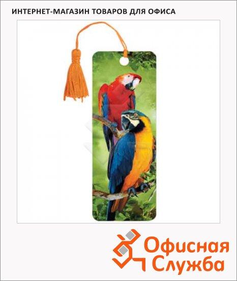 Закладка для книг Brauberg Попугаи, объемная с движением, шнурок-завязка