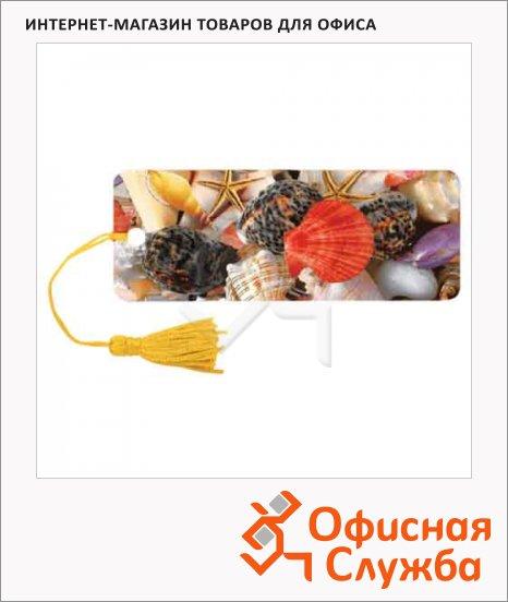 Закладка для книг Brauberg Ракушки, объемная с движением, шнурок-завязка