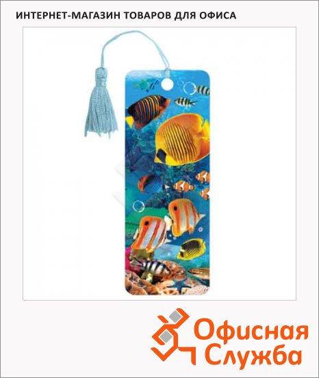 фото: Закладка для книг Brauberg Экзотические рыбки объемная с движением, шнурок-завязка