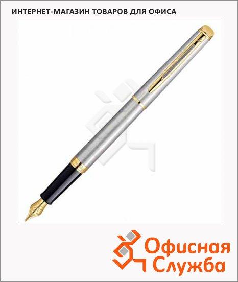 Ручка перьевая Waterman синяя, нержавеющая сталь/позолота 23карата корпус