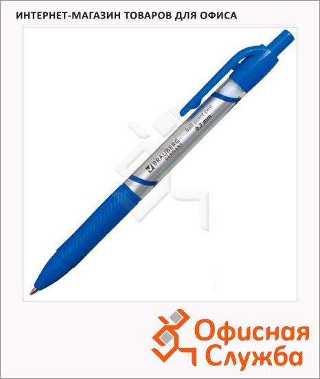 Ручка шариковая автоматическая Brauberg Leader синяя, 0.7мм, синий корпус