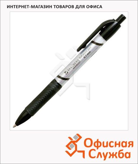 Ручка шариковая автоматическая Brauberg Leader черная, 0.7мм, черный корпус