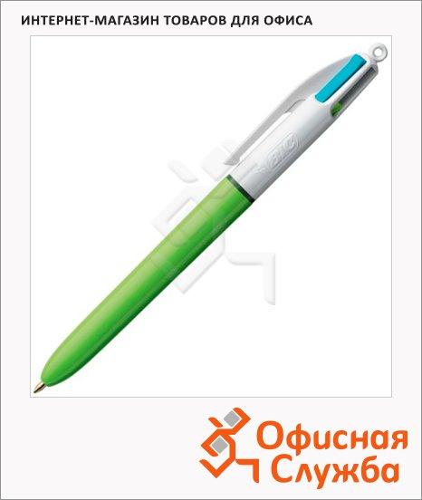 Ручка шариковая автоматическая Bic 4 Colours 4 цвета, 0.4мм, салатовый корпус