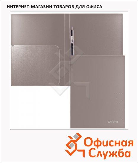 Скоросшиватель пластиковый Brauberg Диагональ серебристый, А4
