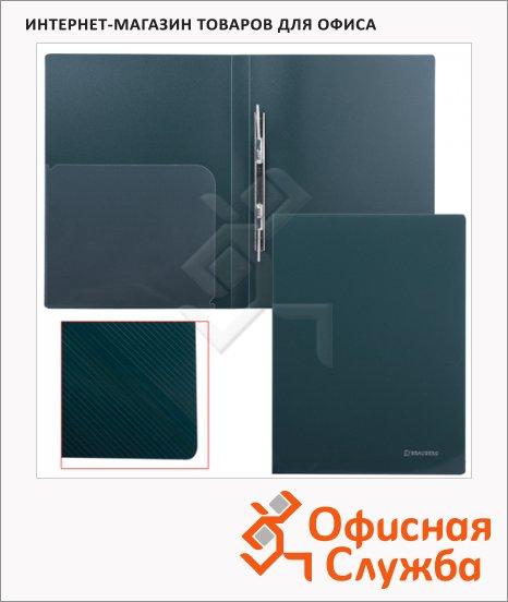 фото: Скоросшиватель пластиковый Brauberg Диагональ темно-зеленый А4