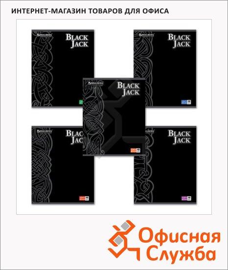 фото: Тетрадь общая Brauberg Black Jack А5, 48 листов, в клетку, на скрепке, мелованный картон/ лак