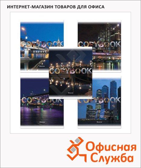 фото: Тетрадь общая Полиграфика Moscow Night А5, 48 листов, в клетку, на скрепке, мелованный картон/ лак