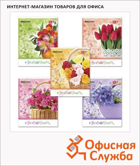 Тетрадь общая Brauberg Цветы-2, А5, 48 листов, в клетку, на скрепке, мелованный картон/ блестки