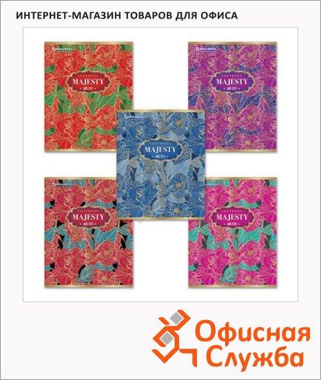 Тетрадь общая Brauberg Цветочное кружево, А5, 48 листов, в клетку, на скрепке, мелованный картон/ фольга