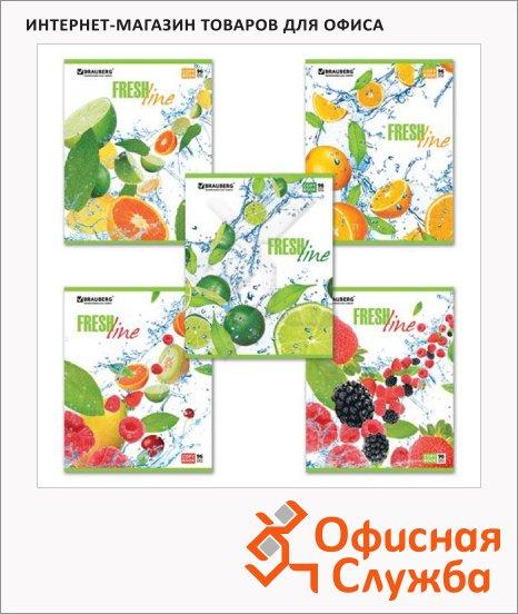 Тетрадь общая Brauberg Fresh Line, А5, 96 листов, в клетку, на скрепке, мелованный картон/ лак