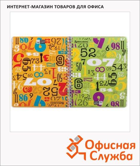 Тетрадь общая Brauberg Numeric, A5, 96 листов, в клетку, на спирали, мелованный картон