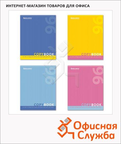 фото: Тетрадь общая Brauberg One Color А5, 96 листов, в клетку, на скрепке, мелованный картон