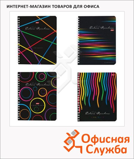 фото: Тетрадь общая Hatber Rainbow A5, 96 листов, в клетку, на спирали, мелованный картон/ лак