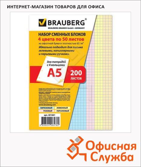 Сменный блок для тетради на кольцах Brauberg 4 цвета, A5, 200 листов, в клетку