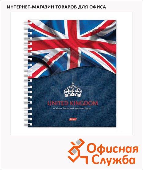 Тетрадь Hatber Британский флаг, A5, 120 листов, в клетку, на спирали, ламинированный картон