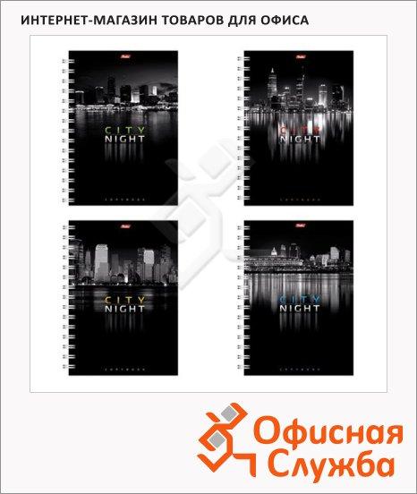 Тетрадь общая Hatber Ночной город, A4, 96 листов, в клетку, на спирали, мелованный картон/ лак