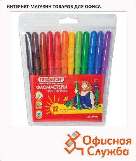 фото: Фломастеры для рисования Пифагор 12 цветов смываемые