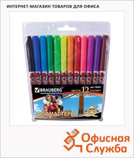 фото: Фломастеры для рисования Brauberg Pirates 12 цветов смываемые, печать на корпусе