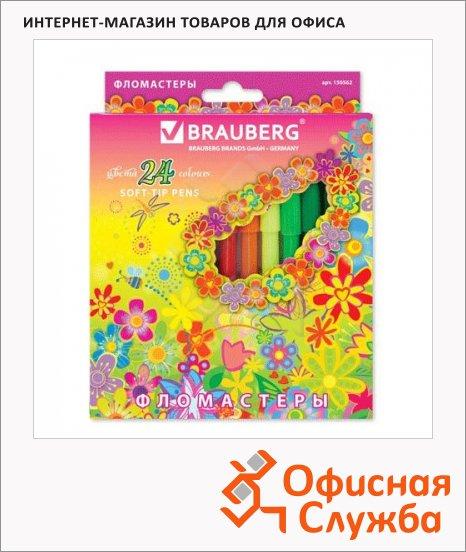 Фломастеры Brauberg Flowers 24 цвета, смываемые