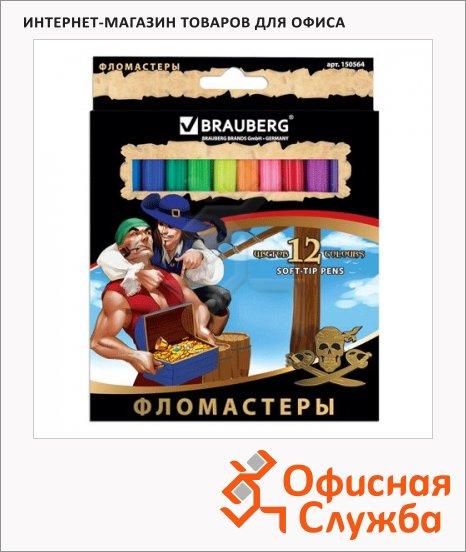 Фломастеры Brauberg Pirates 12 цветов, смываемые, картон с золотистым тиснением
