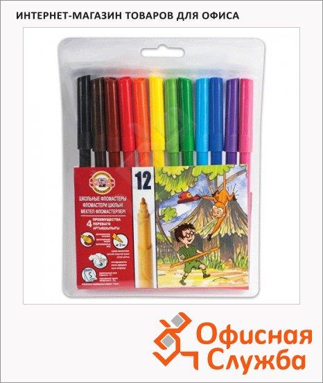 фото: Фломастеры для рисования Koh-I-Noor Звери 12 цветов трехгранные, смываемые