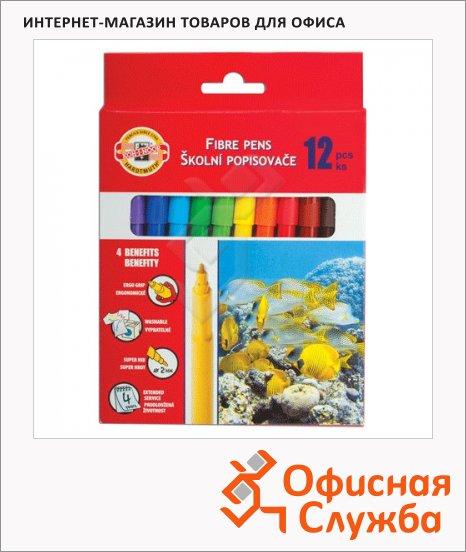 Фломастеры Koh-I-Noor Рыбки 12 цветов, трехгранные, смываемые