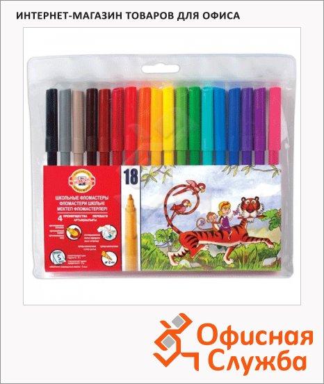 Фломастеры Koh-I-Noor Звери 18 цветов, трехгранные, смываемые