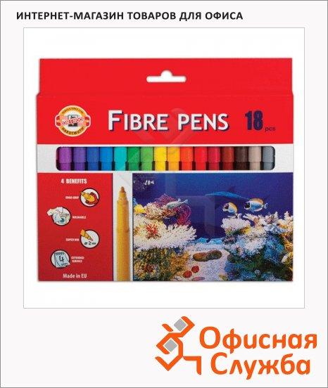 Фломастеры Koh-I-Noor Рыбки 18 цветов, трехгранные, смываемые