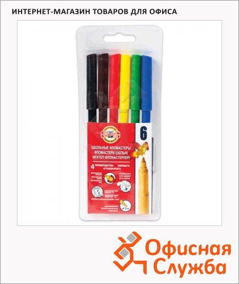 фото: Фломастеры для рисования Koh-I-Noor Звери 6 цветов трехгранные, смываемые