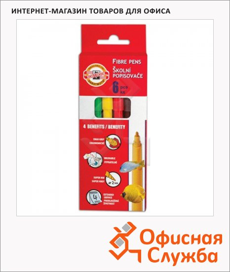 Фломастеры Koh-I-Noor Рыбки 6 цветов, трехгранные, смываемые