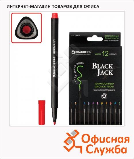 Фломастеры Brauberg Black Jack 150678 12 цветов, трехгранные, смываемые