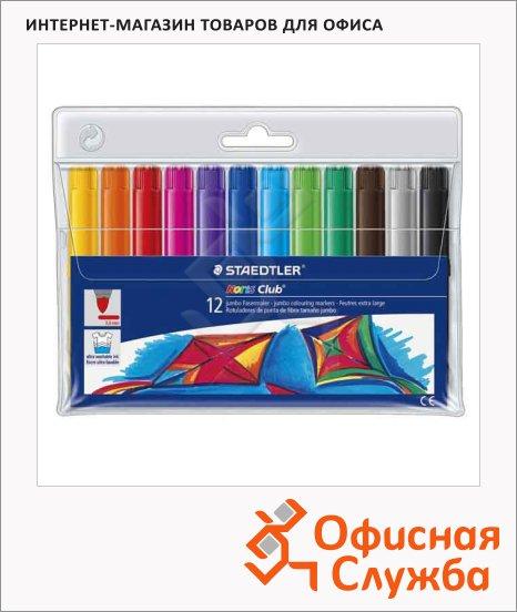 фото: Фломастеры для рисования Staedtler Noris club Jumbo 12 цветов утолщенные, смываемые, пластиковая упаковка
