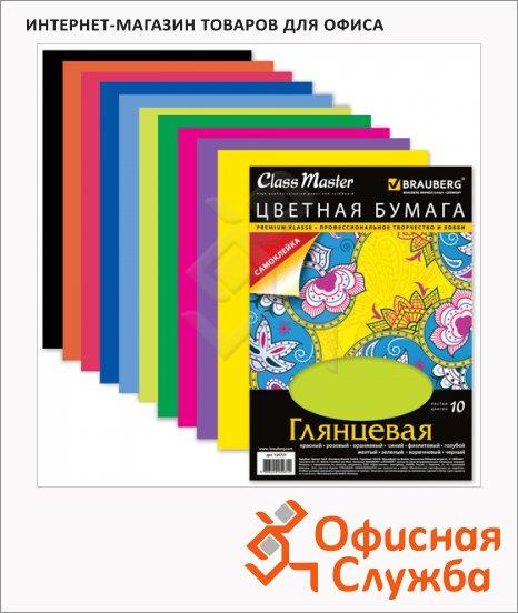 фото: Цветная бумага Brauberg 10 цветов А4, 10 листов, мелованная, самоклеящаяся