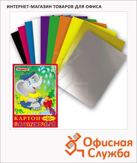 Цветной картон Пифагор 10 цветов, А4, 10 листов, Волшебный Слон и птичка