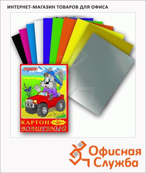 Цветной картон Пифагор 10 цветов, А4, 10 листов, Волшебный Заяц на джипе