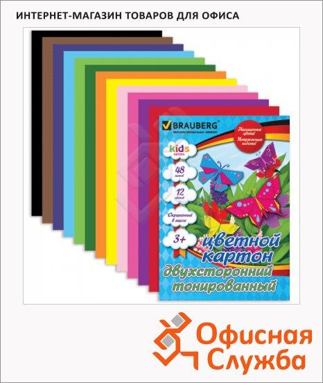 Цветной картон Brauberg Kids Series 12 цветов, А4, 48 листов, двухсторонний, тонированный