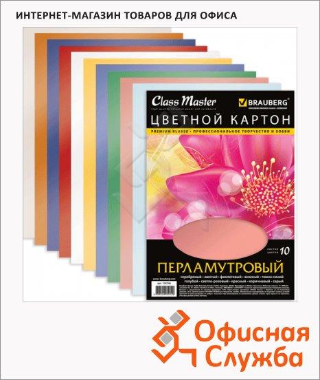 Цветной картон Brauberg 10 цветов, А4, 10 листов, перламутровый