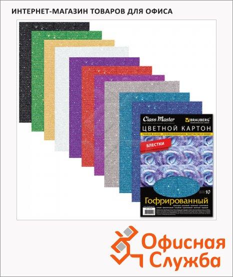 фото: Цветной картон Brauberg 10 цветов А4, 10 листов, гофрированный, с блестками