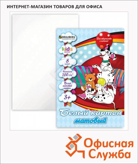 Картон белый Brauberg Kids Series 8 листов, А4, Забавные щенки