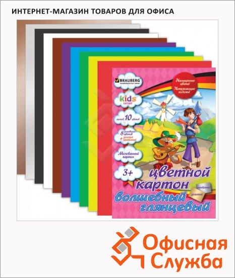 Цветной картон Brauberg Kids Series 10 цветов, А4, 10 листов, мелованный, Кот в сапогах