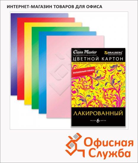 Цветной картон Brauberg 6 цветов, А4, 6 листов, лакированный