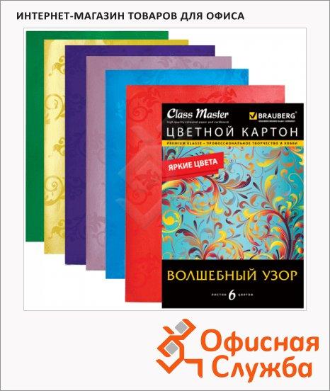 Цветной картон Brauberg 6 цветов, А4, 6 листов, глянцевый узор