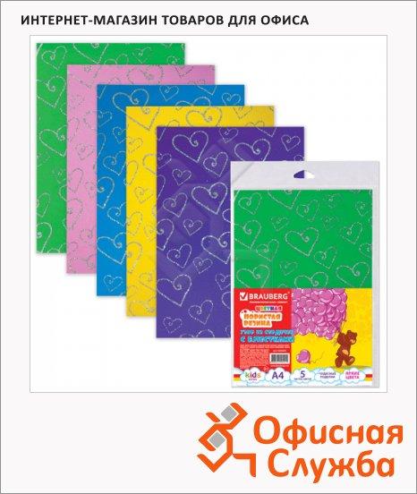 Цветная пористая резина Brauberg 5 цветов, А4, 5 листов, сердце