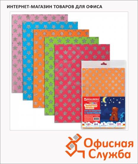 фото: Цветная пористая резина Brauberg 5 цветов А4, 5 листов, узор с блестками
