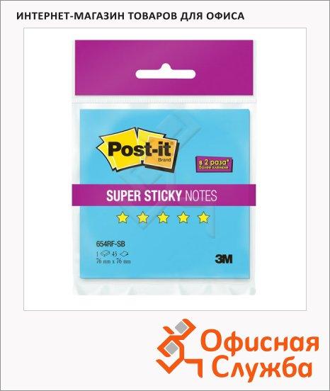Блок для записей с клейким краем Post-It Super Sticky голубой, неон, 76х76см, 45 листов, 654RF-SB