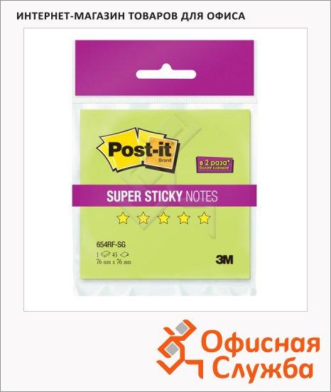 Блок для записей с клейким краем Post-It Super Sticky зеленый, неон, 76х76мм, 45 листов, 654RF-SG
