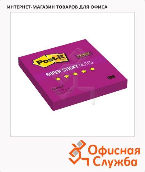 фото: Блок для записей с клейким краем Post-It Super Sticky фиолетовый 76х76мм, 90 листов, неон, 654R-SV