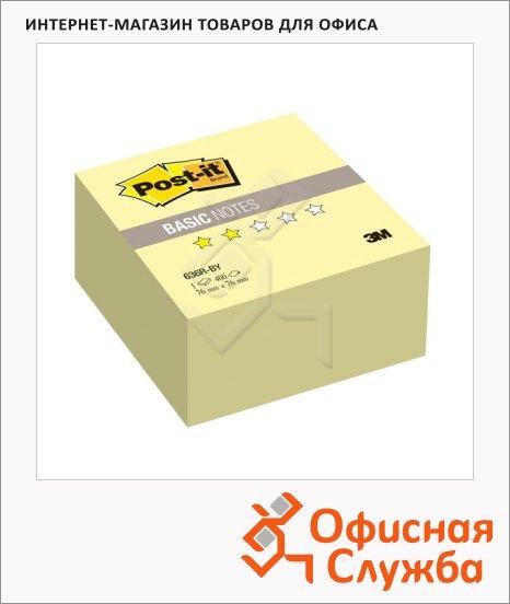 Блок для записей с клейким краем Post-It Basic желтый, пастельный, 76х76мм, 400 листов, 636-BY